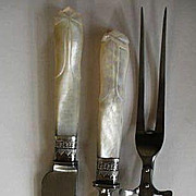 Mother of Pearl Handles Sterling Silver Ferrule Carving Set