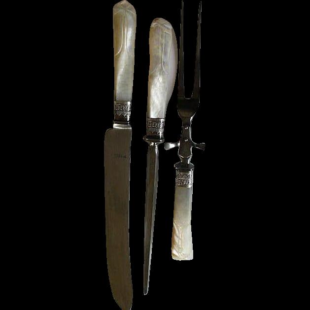 Mother of Pearl Handles Sterling Silver Ferrule Carving Set