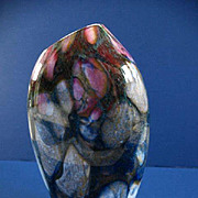 Slant Rim Multi Colored Hand Blown Cased Vase / Signed & Numbered