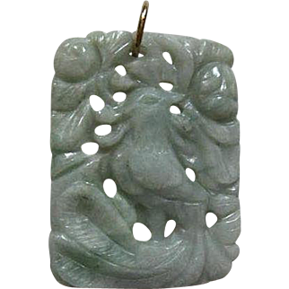 Vintage Chinese Carved & Pierced Rectangular Jadeite Pendant w/ 10K Gold Ring