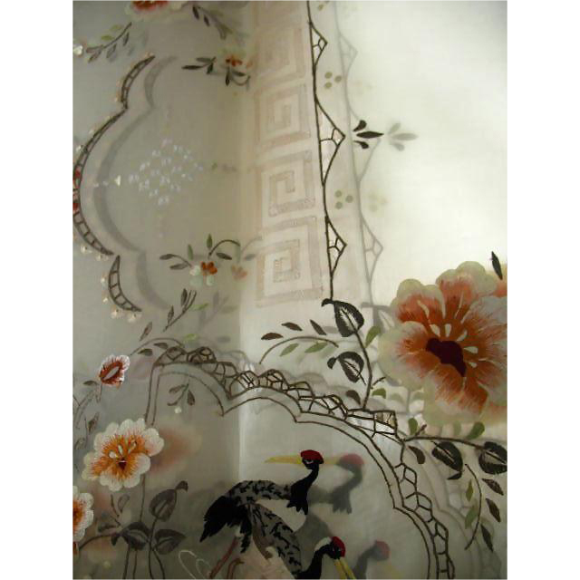 Vintage Hand Embroidered Organdy Banquet Tablecloth w/ 12 Napkins