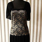 Vintage Pleated Black Chiffon & Gold Colored Lace Dress