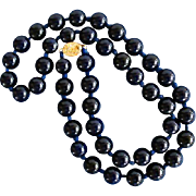 Hand Knotted Dark Blue Glass Necklace