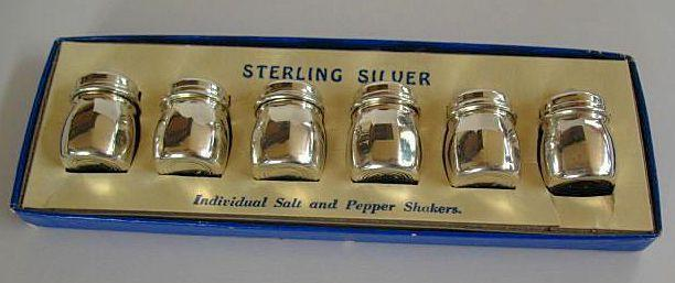 Boxed Set of Individual Mini Sterling Silver Salt & Pepper Shakers