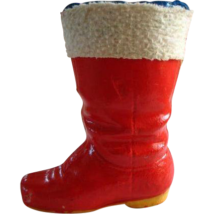 Vintage Paper Mache Red Santa Boot Sweet Treat Container