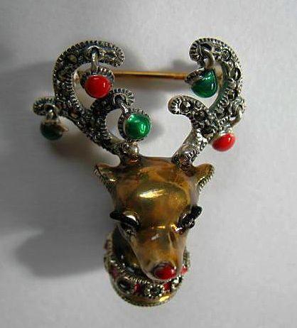 Judith Jack Sterling Silver Enamel Marcasite Christmas Reindeer Pin/Brooch