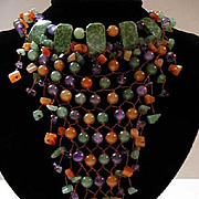 Hand Tied Multi-Colored Jade Bead Bib Necklace