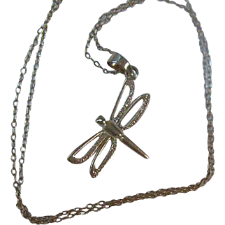 Sterling Silver Dragonfly Pendant on Sterling Silver Chain
