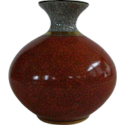 Mid-Century Royal Copenhagen Small Orange/Gray Crackle Glaze Vase
