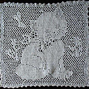 Vintage Square Hand Crochet Kitty Doily