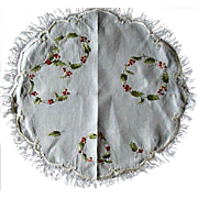 Victorian Society Silk Embroidered Round Centerpiece