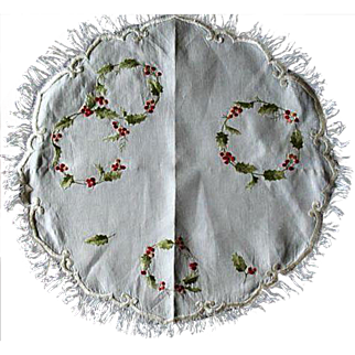 Victorian Society Silk Embroidered Round Centerpiece