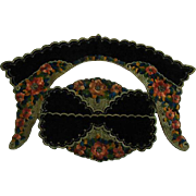 Gorgeous Embroidered Green Velvet Collar & Cuffs