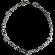 Sterling Silver  & Rhinestone Tennis Bracelet