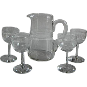 Small Needle Etched Pitcher w/ Four Needle Etched Cordials