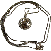 Sterling Silver Half Soccer Ball Pendant & Chain