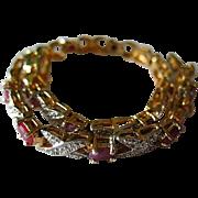 Sterling Silver Genuine Diamond Sapphire Criss Cross Women's Link Bracelet