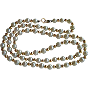 Freshwater Pearls & Gold Bead Necklace