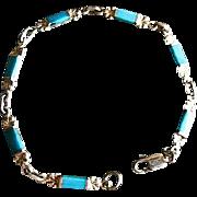 Sterling Silver & Turquoise Bar Link Bracelet