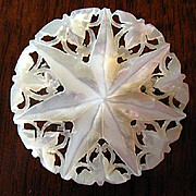 Intricate MOP Seven Point Carbved Star Brooch