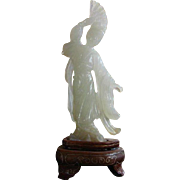 Vintage  Small Jade Female Carving / Wood Stand