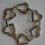 Marcasite Hearts & Rounded Link Bracelet
