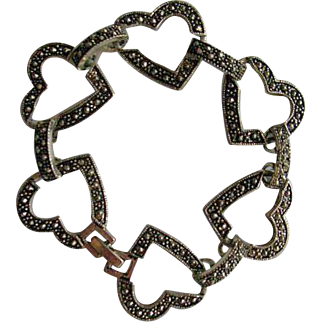 Marcasite Hearts & Rounded Link Bracelet