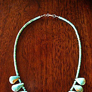 Natural Turquoise Teardrop & Heishi Bead Choker