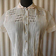 Vintage Pink Sheer Nylon Decorated Pintuck Blouse