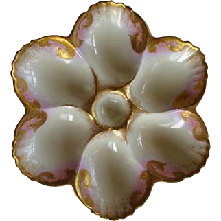 Gorgeous Hand Painted French Porcelain Oyster Plate