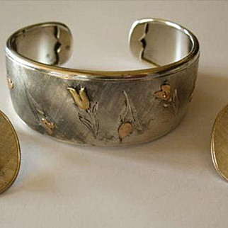 Magnificent Vintage Sterling & 18K Gold Bracelet With Matching Clip Back Earrings