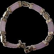 Lavender Jadeite & Sterling Silver Character Link Bracelet