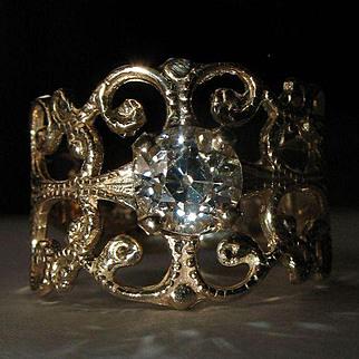 Custom Made 14K Gold Ring Setting For Old European Cut Diamond