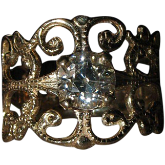 Custom Made Old European Cut Diamond 14K Gold Ring