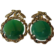 Vintage Sterling Silver Marcasite & Chrysoprase Earrings