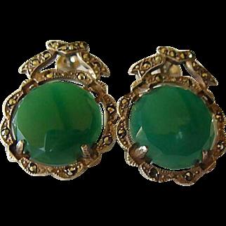 Vintage Sterling Silver Marcasite & Chrysoprase Earrings