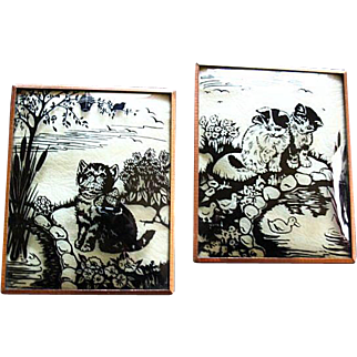 Vintage Reverse Painted Kitten Silhouettes On Convex Glass