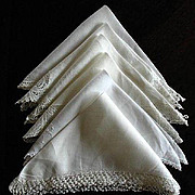 Twelve Vintage Linen & Cotton & Lace Handkerchiefs