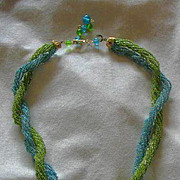 Vintage Beaded Necklace Marked Japan