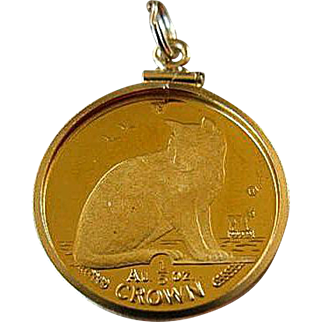 1990 Isle of Man New York Alley Gold Cat Coin