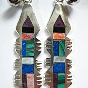Zuni Multi-Gem Dangle Post Earrings