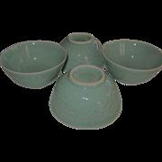 Vintage Chinese  Longquan Celadon Stoneware Rice / Soup Bowls