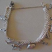 900 Silver Woven Charm Bracelet W/Eleven  Southwest Style Sterling Silver Charms