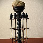 Antique Victorian Brass & Wood Thread Spool Holder