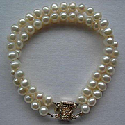 Double Row Natural Cultured Pearl Bracelet