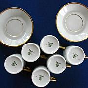 Vintage Six Espresso Demitasse Cups & Saucers / Hutschenreuther Gelb
