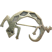 Vintage Small Silver Navajo Gecko Pin