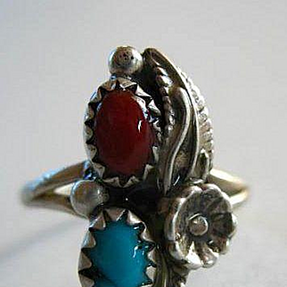 Vintage Navajo Sterling Silver, Turquoise & Coral Ring