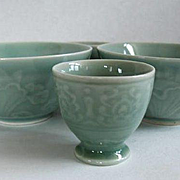 Vintage Chinese Glazed Ceramic Celadon Bowls & Cups