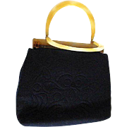 Fashionable Navy Blue Felted Wool Purse / Lucite Handles